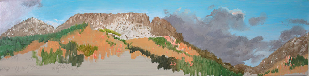 "sangres with purple clouds , 12x48"" oil on linen as it looked moments ago"