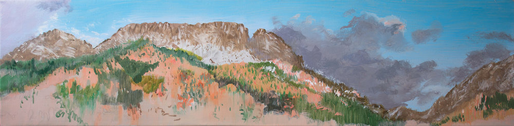 sangres with purple clouds  at 1pm the painting is in oil on linen and measures 12x48""