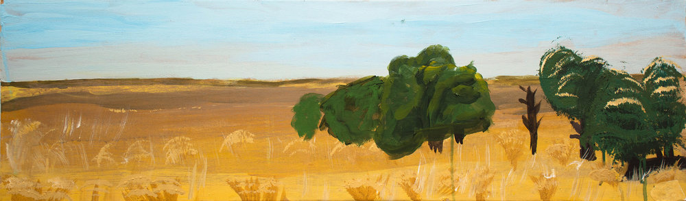 "k's landscape . 12x40"" acrylic on canvas, (signature blocked to preserve his privacy)"
