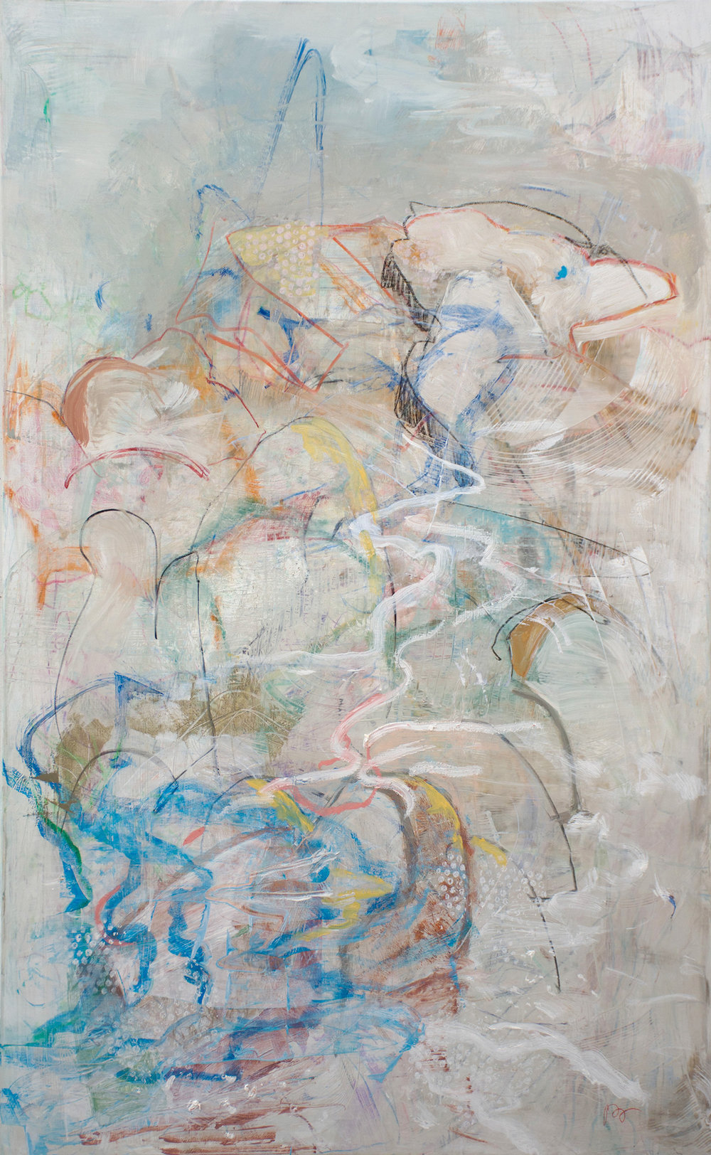 "motion 20   56x35"" oil, crayon & colored pencil on canvas"