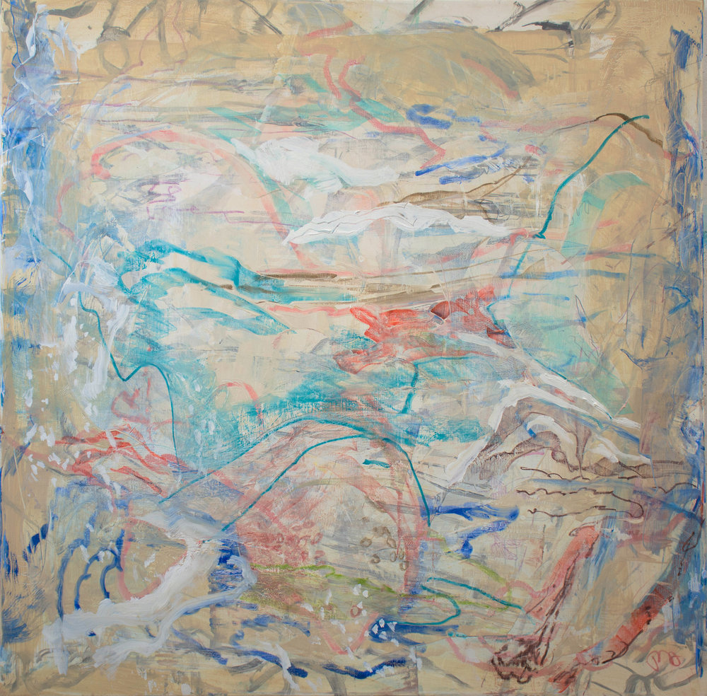 """wiggle room,  36x36"""" as it looked at the end of my painting day."""