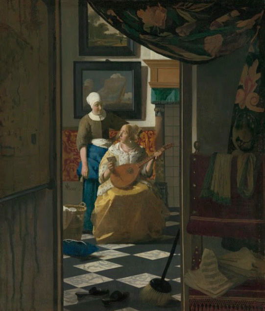 vermeer t he love letter  1669-70 44x38cm.
