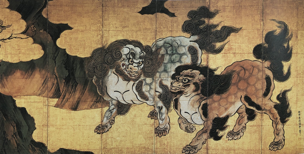 mythological chinese lions,  kanō eitoku,  1543-90, 6 panel folding screen,  imperial household  collection