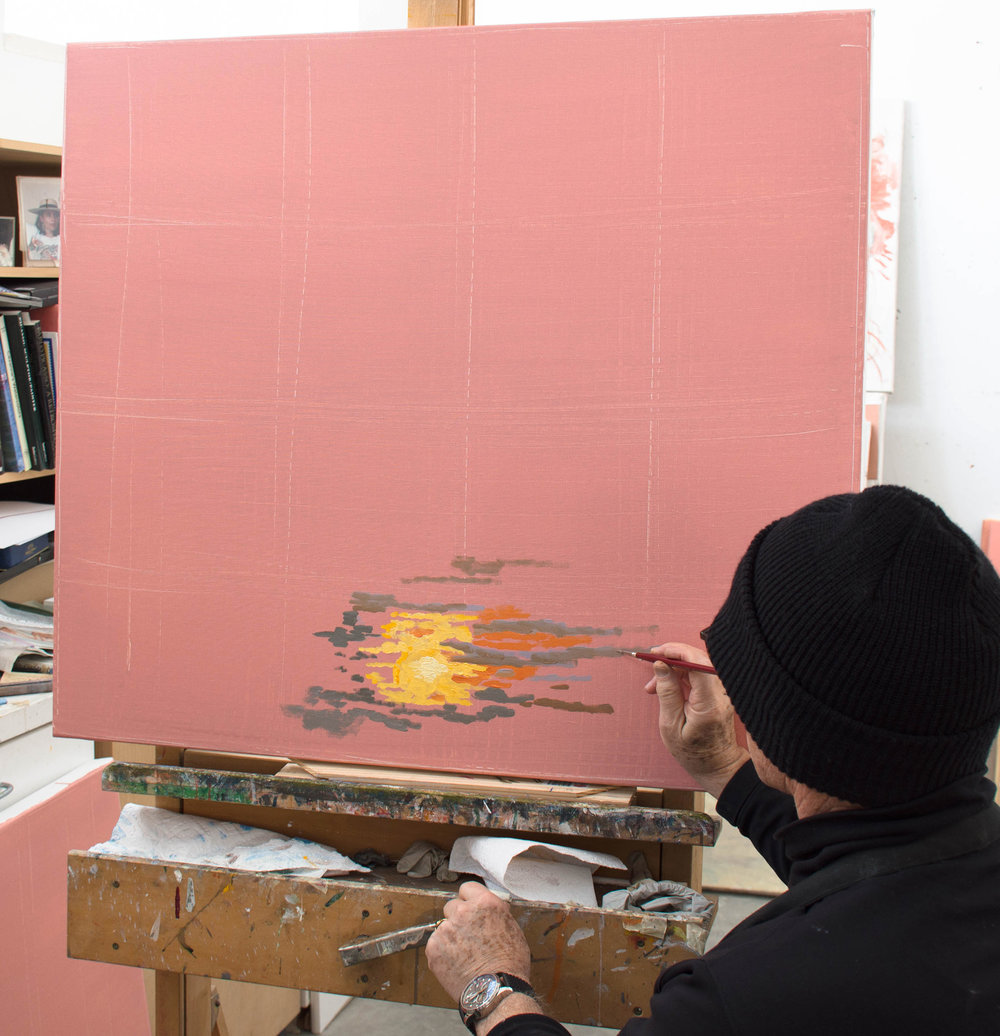 painting the setting sun using the wax medium