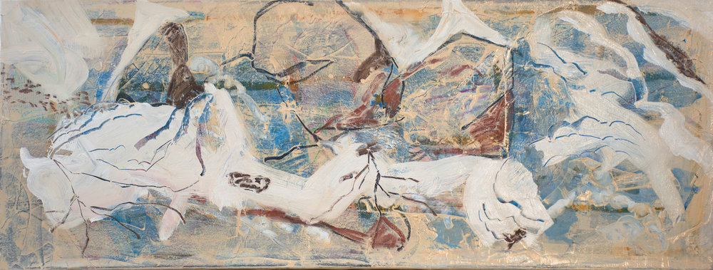 """icy creek , 18 x 48"""" mixed media & collage on canvas"""