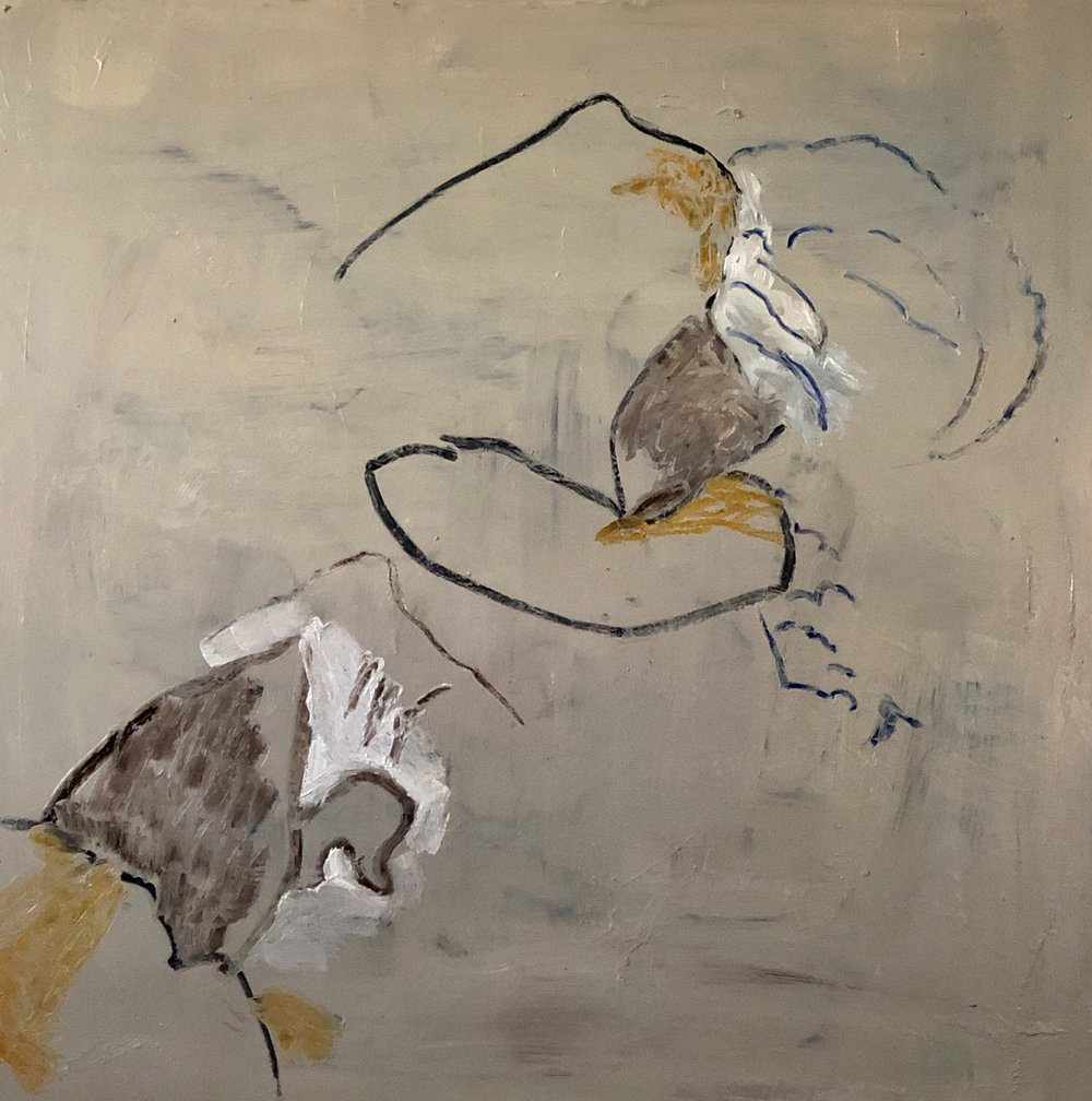 "roiling  38x36"" mixed media on canvas, 2019"