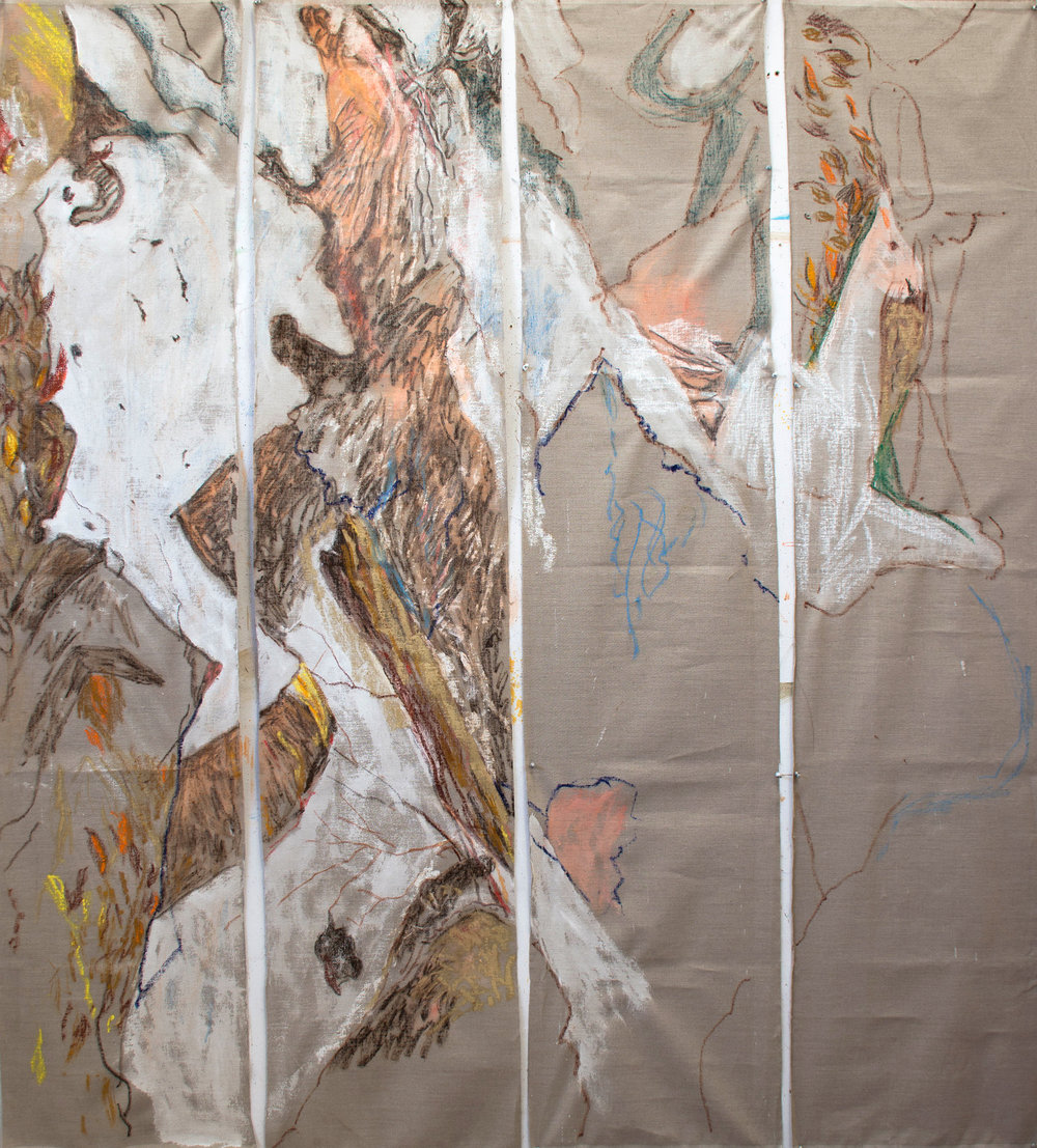 the 4 scroll painting, as yet unnamed, following this mornings work