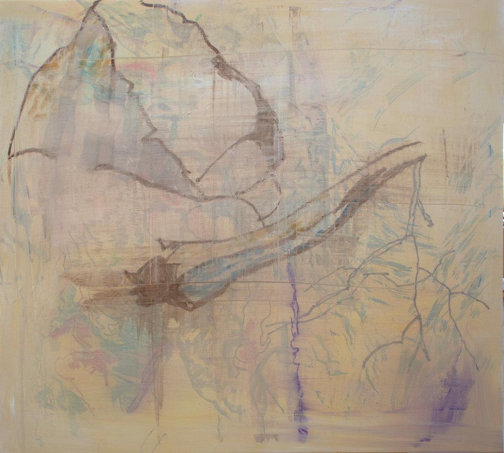 """meandering creek  32x36""""  oil & oil stick on linen"""