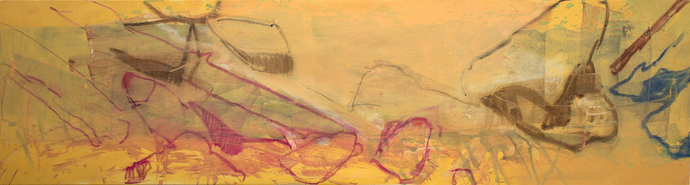 """aspen creek,  17 1/2 x 68"""", at the end of my painting day."""