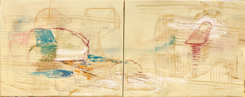 """double creek II , 16x40"""" as it looked at the end of my short painting day."""