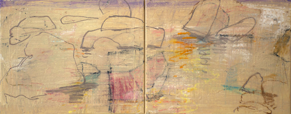 """double creek II , consisting of 2 16x20"""" canvasses joined, oil & oil stick on linen"""