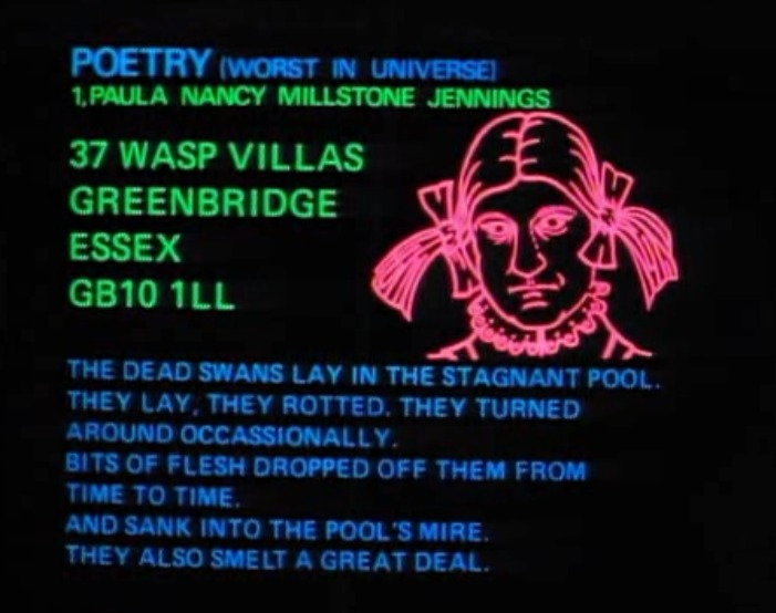 """""""The Worst Poem in the Universe"""", Screenshot from my computer of the 1981 BBC series """"The Hitch Hiker's Guide to the Galaxy""""."""