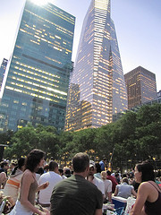 Summer Dusk at Bryant Park:    Facing NW, waiting for Monty Python and the Holy Grail.
