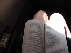 In the Aeroplane:     The sun on my lap.