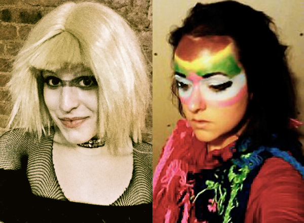 KJ + Eve = Halloween fun times.     Although an entire nation keeps us apart, our mutual love for  face paint  brings us together.    Left: Me as  Pris  from  Blade Runner ; Right:  Katherine  as  Björk