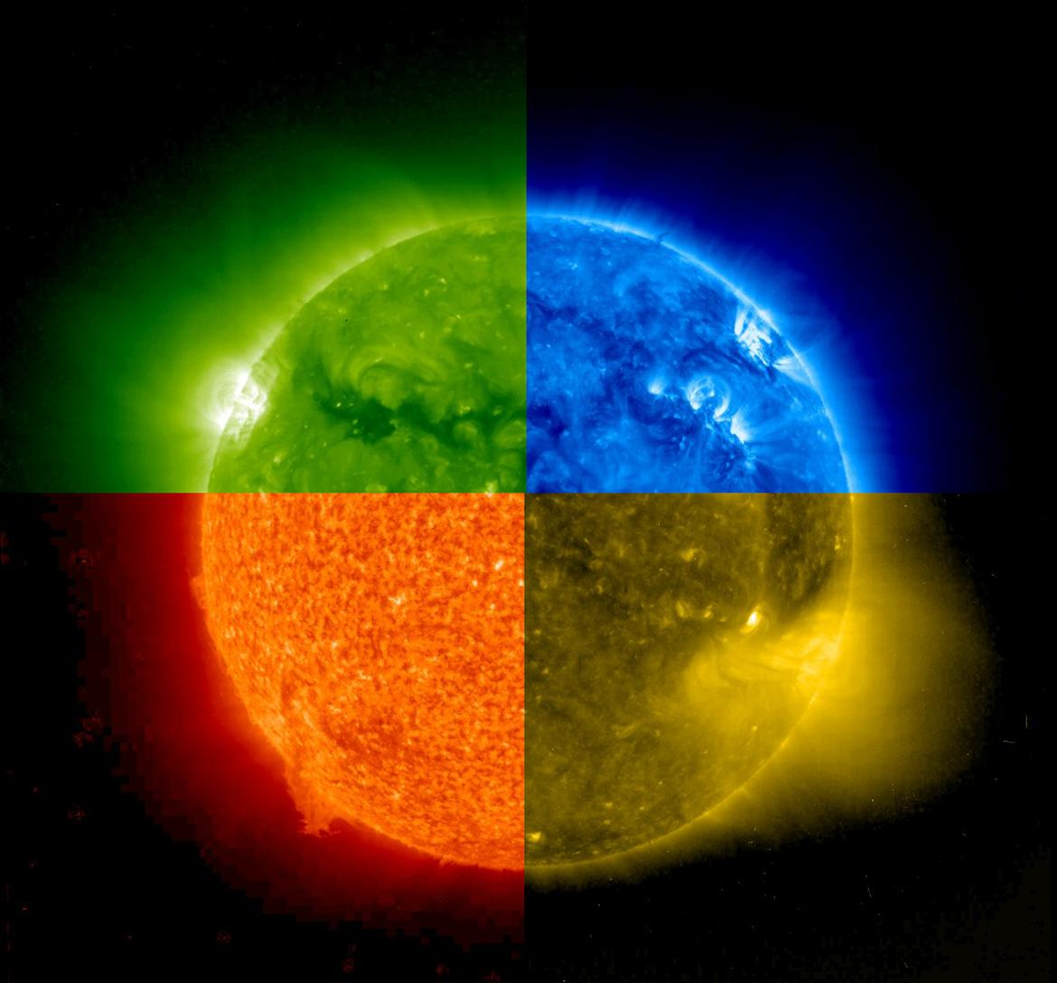 Our Sun , captured in time, at four different wavelengths. Did you know the sun's corona is actually hotter than the surface? That's what  Brian Cox , the  Bowie  of physicists, says.  It amazes me that this magnificent orb is so basic and fundamental to our existence; to the point that we take it for granted. I am a jolly, sunny idiot.   via  NASA Goddard Photo and Video on Flickr