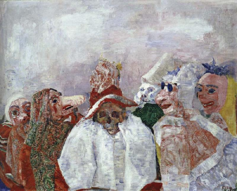 miguelmartin :      James Ensor .  Masks Confronting Death . 1888  Belgian, 1860-1949  Oil on canvas, 81.3 x 100.3 Mrs. Simon Guggenheim Fund   Produced 123 years ago yet still contains such a contemporary fucking edge it could be hung in this year's Chelsea School of Art Degree show and not one young cocky graduate would know dick!