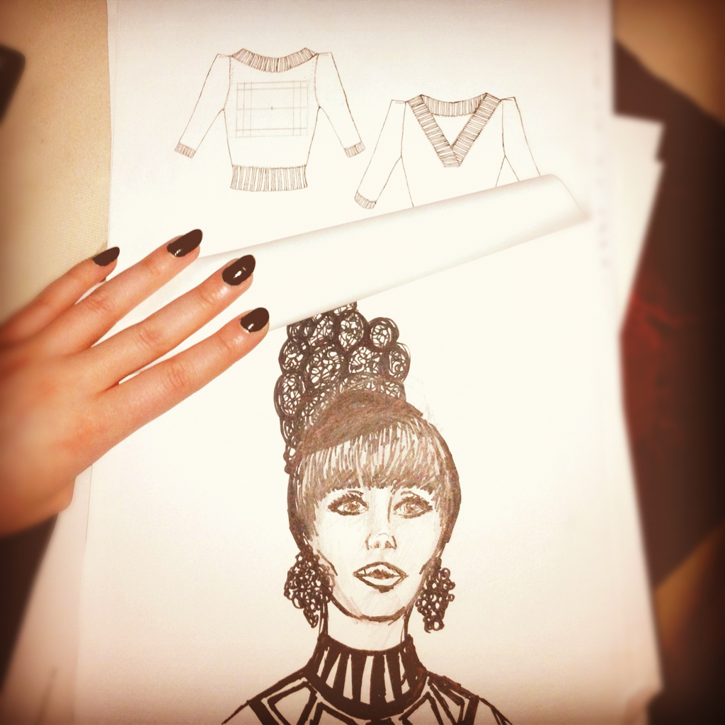 Sketchadoodling, Sketchadawdling    ADD: sweater flat => Carmen Miranda inspired 60s mod lady as played by Jane Fonda/Kristen Wiig love child, Keren Ann haircut. I suck at life, but win at B&W doodling.