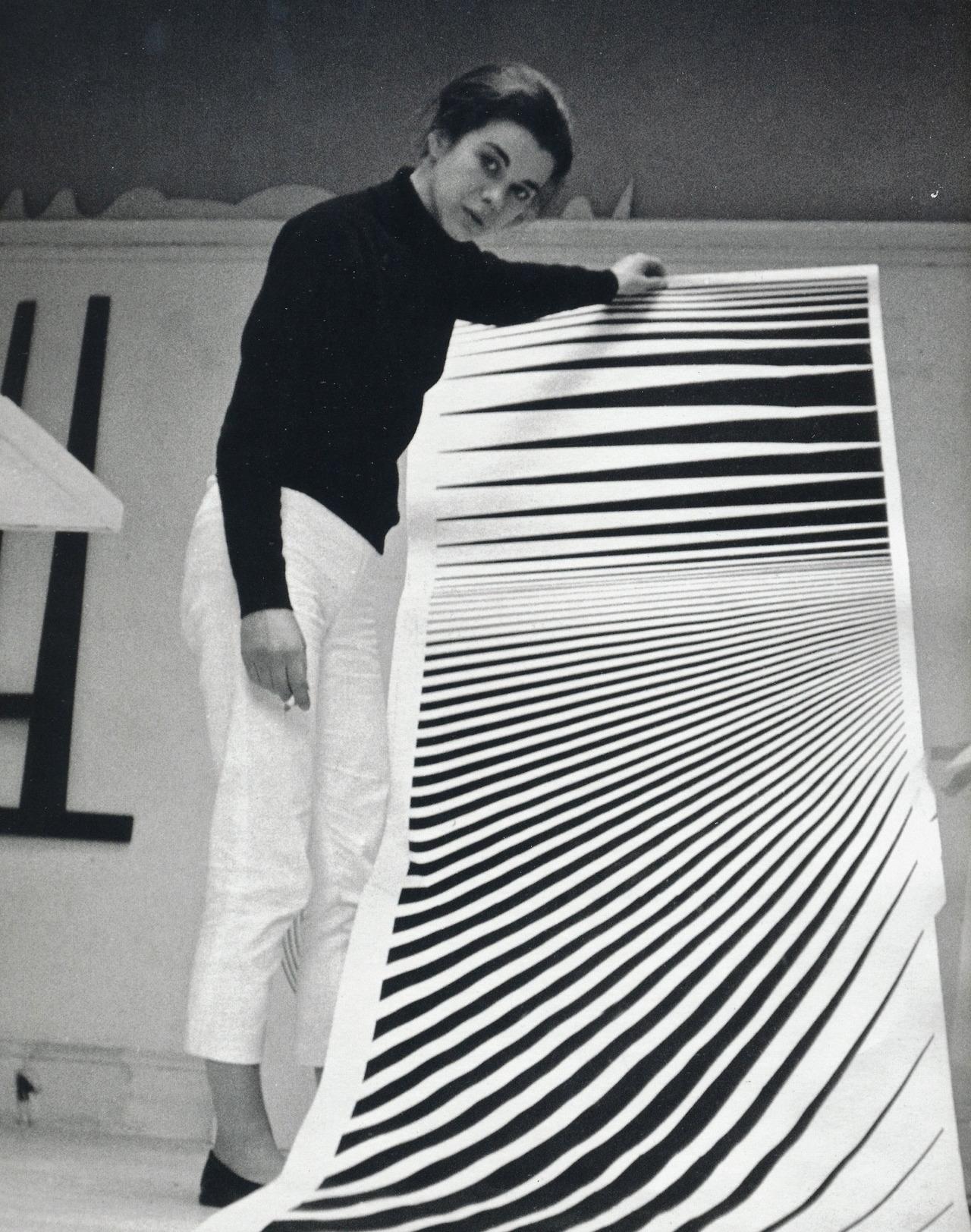 Op Art pioneer Bridget Riley in her Warwick Road studio, London, with cartoon for 'Continuum', 1963.