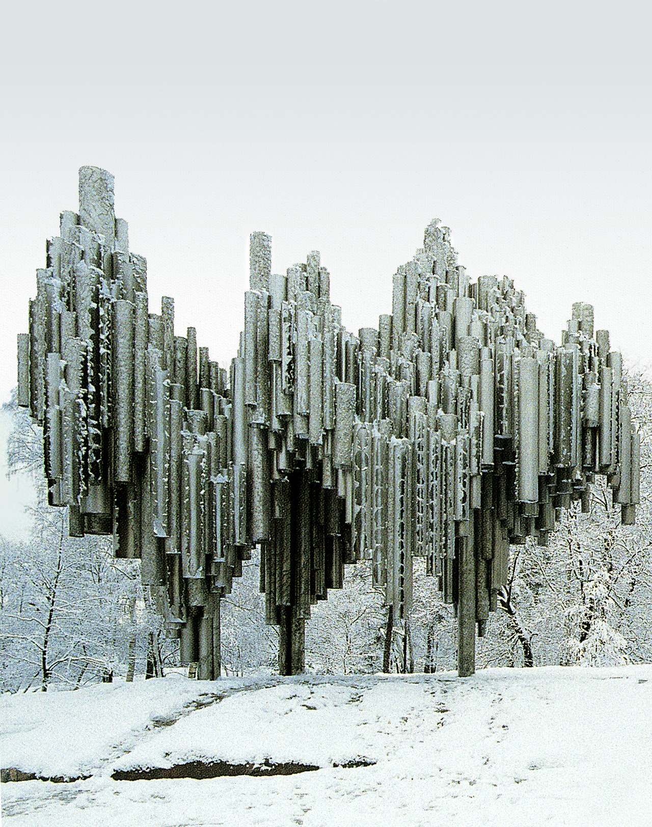 Sibelius Monument by   Eila Hiltunen  (1967) Helsinki.  Emil Kukkonen assistant-metalworker.   Material - Welding stainless steel.  Weight: 30 tons.  1   2  3