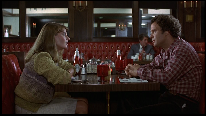 """Modern Romance"" (1981)   Dir: Albert Brooks   Mary: ""This is too painful for me. I can't do this — it's over.""   Robert: ""Marry me.""   Discovering this film this weekend, was a bittersweet surprise. It's funny, full of those stupid idiomatic phrases we use to substitute genuine expression of emotion, the Einstein bros going at it, stuffed giraffes, blindsiding breakups, obsolete technologies (""I love my vinyl records!"", waiting around outside a payphone to telephonically harangue your ex via landline, answering machine), late 70s athleticwear, Albert Brooks' bodyhair raglan sweater, James L. Brooks, Bruno Kirby, George Kennedy, Quaaludes; and last but most important, great dialogue.   This movie, like Woody Allen's romantic comedies, has obviously led the way for the contemporary tone, mood and humor that predominates in romantic dramedies, Whit Stillman, Noah Baumbach movies and all who follow.  It's not the easiest film to watch, especially if you have ever been in a longterm on-again, off-again coupling, dysfunctional yet impossibly attracted to one another on every level. Nevertheless, it's certainly worthwhile."