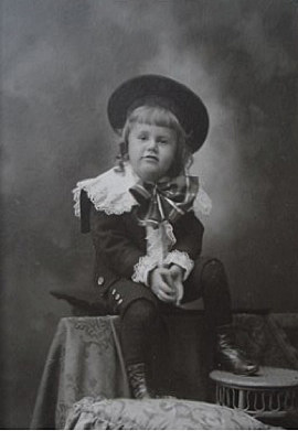 My great-grandfather, Ralph Jewell Gibson, in Little Lord Fauntleroy garb. Circa 1890.