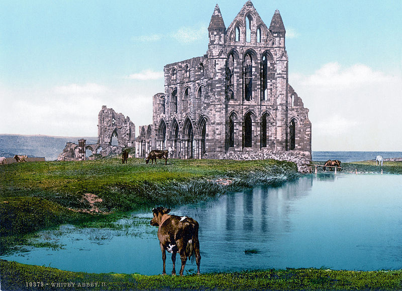 Swiss Postcard of Whitby Abbey, c. 1890-1905.  Color-corrected by Jan Arkesteijn. Public Domain Via Wikimedia Commons.
