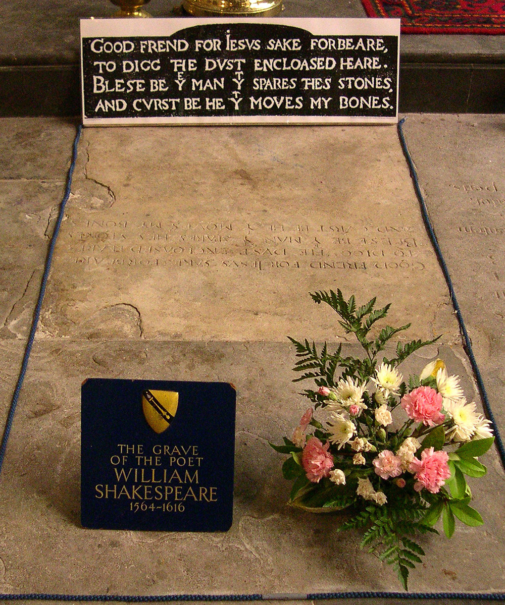 Presumed Grave of William Shakespeare. Photograph by David Jones. Stratford-Upon-Avon, UK. 2007. Creative Commons via Wikimedia Commons. Cropped.