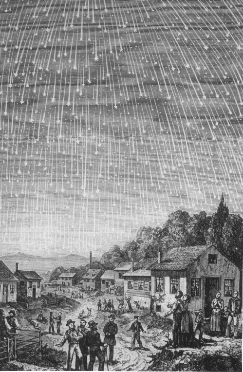 This most famous image of the 1833 Leonids is by Adolf Vollmy, who in 1889 based it on a painting that was in turn based on a first-hand account. It was once thought to be exaggerated, but both science and history seem to corroborate the engraving. Public domain via Wikimedia Commons.