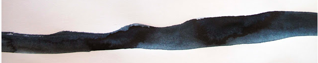 A swatch of paynes gray watercolor paint showing the color variations available.