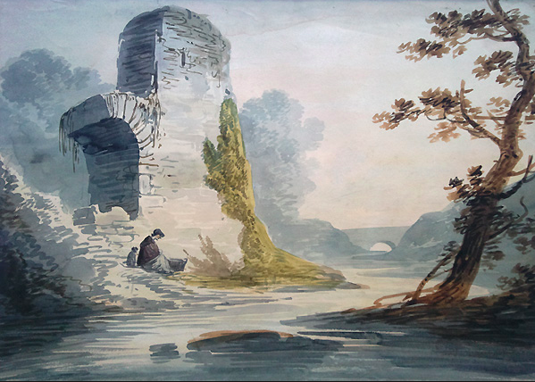 Untitled river scene by William Payne that utilizes Paynes Grey.