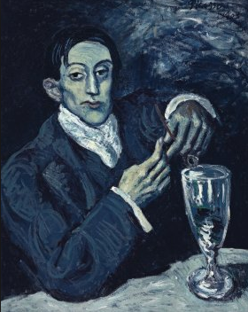 Portrait of Angel Fernández de Soto  (also known as The Absinthe Drinker) by Picasso from his blue period.