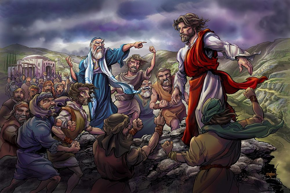 Jesus at Nazarene Precipice   Client:  Gospel Light Publications  Medium:  Digital