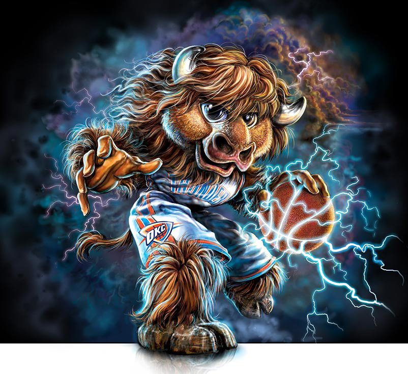 R  eady to  Rumble    Supplemental Art for Design of OKC Thunder Illustrated Mascot  Also see Officlal Mascot Illustration for OKC Thunder ( below )   Client:   OKC Thunder  via Old Hat Creative   Medium:  Digital