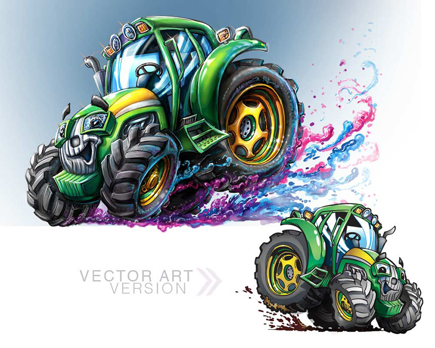 Tredder the H  appy Tractor  [Painted and Vector Art versions]  Client:  John Deere Dealership  via Black Cat Creative   Medium:  Digital (Photoshop & Adobe Illustrator)