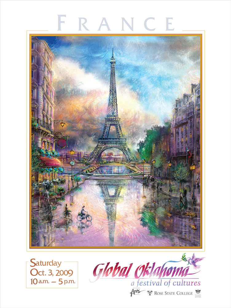 France  - Global Oklahoma Poster  Client:  Rose State College Medium: Digital (Photoshop & Corel Painter)