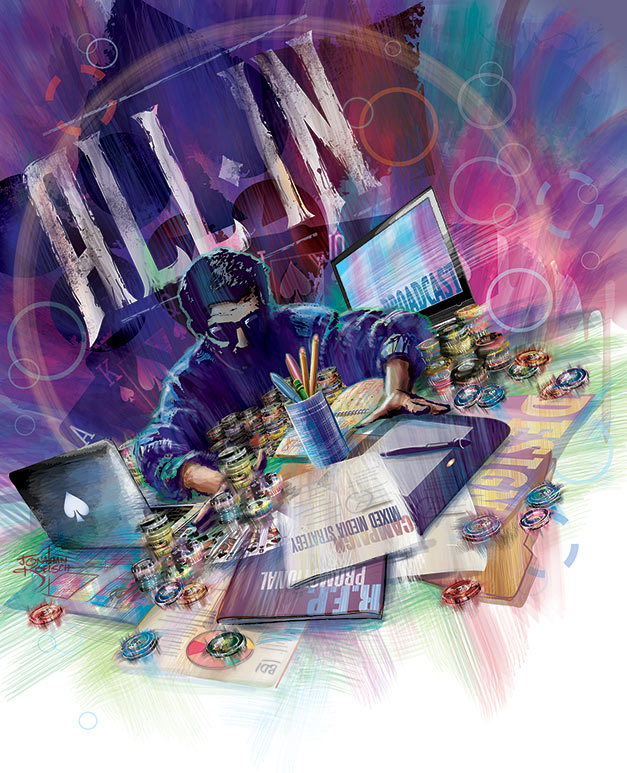 All In   - Addy Awards 2011       Client:   OKC Addys via Mindseye! Advertising  Medium:   100% Vector Art (Adobe Illustrator CS)