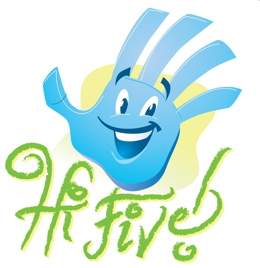 Hi Five! Logo   Client:   Schwartzrock Graphic Arts  Medium:  Digital (Vector Art, Adobe Illustrator)