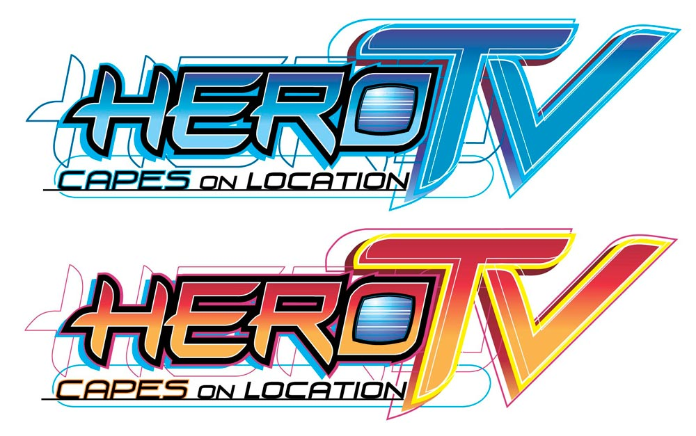 HeroTV Masthead/Logo  Masthead Title and Logo for Comic Book Series   Client:   Community Comics  Medium:  Digital (Vector Art, Adobe Illustrator)
