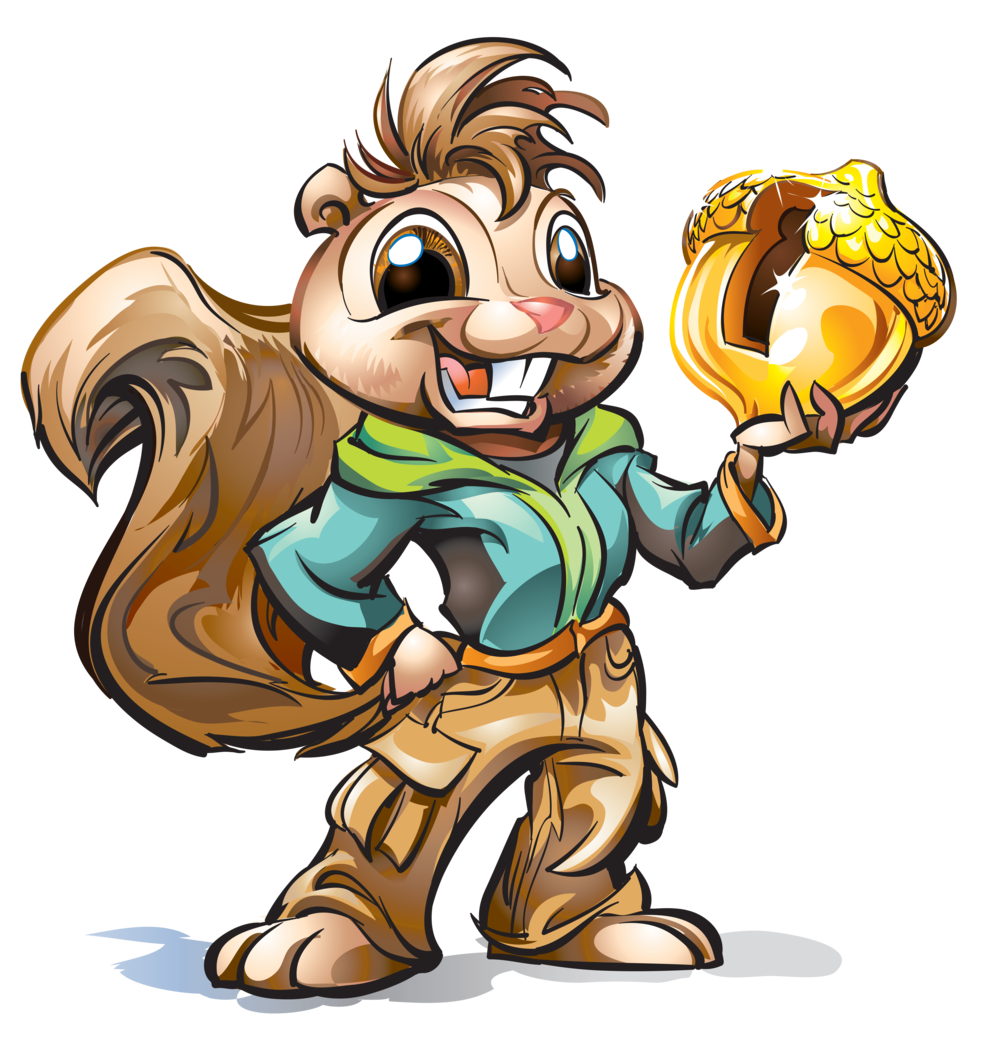 Sammy Squirrel Character for Florida Credit Union via Third Degree Advertising – Several versions of Sammy created of Sammy dressed in various sports and fun activities (skating etc).