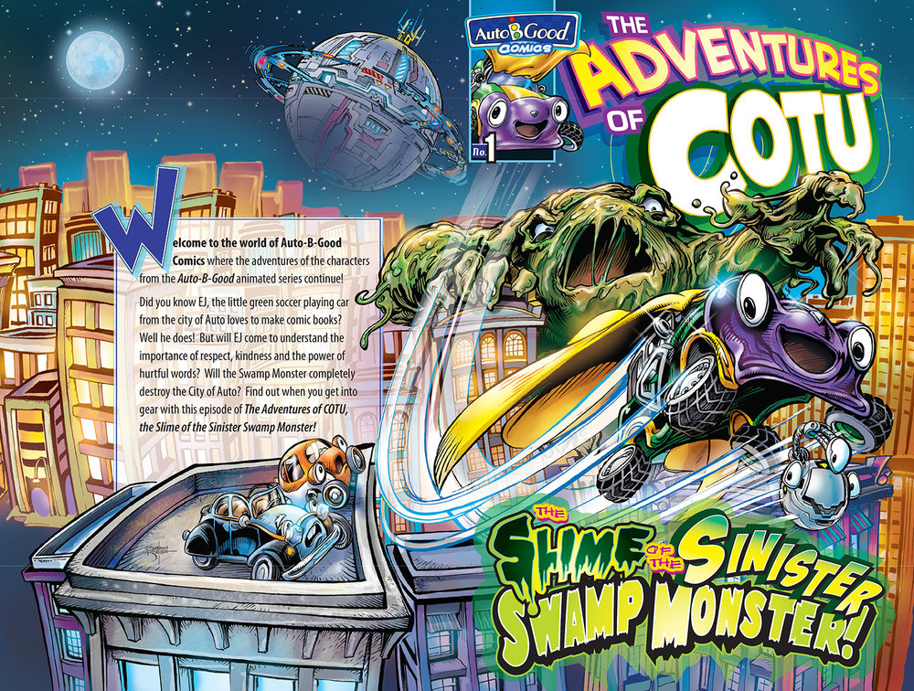 """While Character Designs are by   Auto-B-Good   and Wet Cement Productions, Comic Book Illustration, Graphic Design and Design of """"  Oddbot  """" Character are all by Jonathan."""