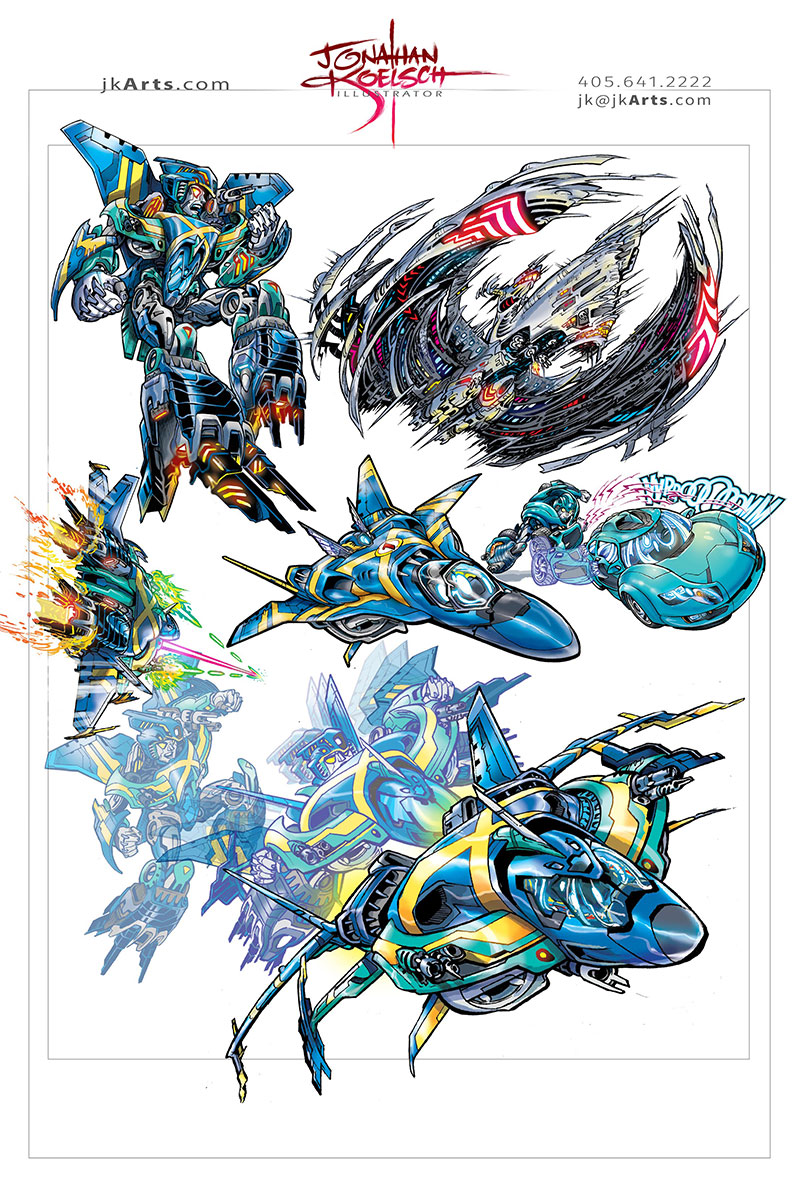 Character Designs for Transformer parody Comic Book
