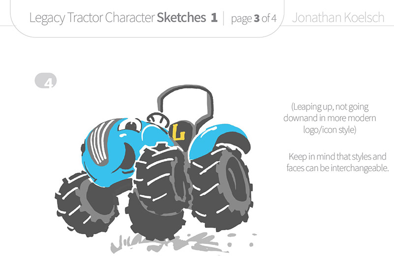 Tredz  Character – initial Sketch Design for Colorado-based Legacy Tractor Dealership
