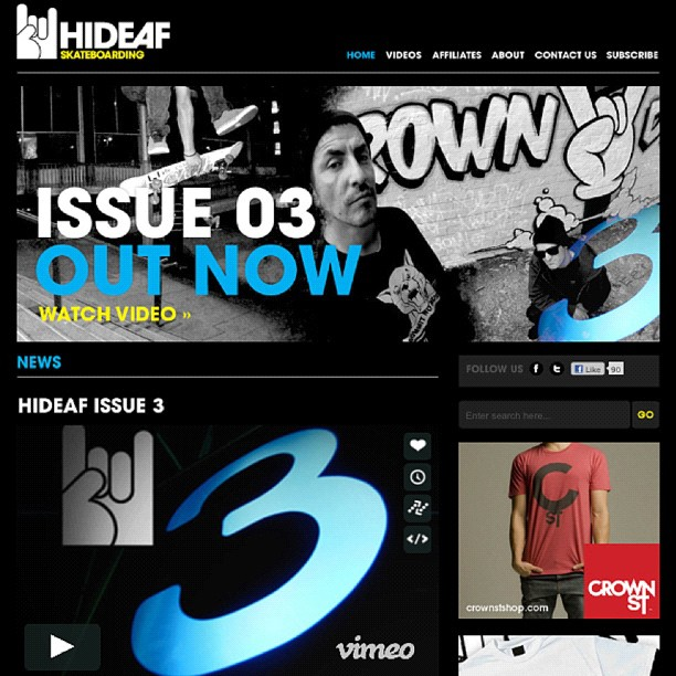 Hideaf Issue 3    2012   The 2nd 'Crown Deaf' piece worked on features throughout the entirety of the clip.     CLICK TO WATCH