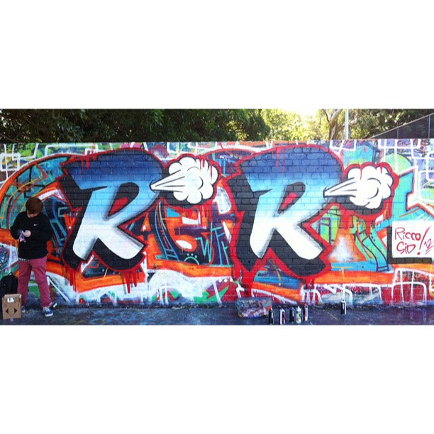 Today I hit up the courts to teach 12yr old, Ricco how to piece. This is his first time at it & he truely excelled ! My 'R' on the left.  His 'R' on the right.    (Taken with  Instagram  at Camperdown Basketball Courts)