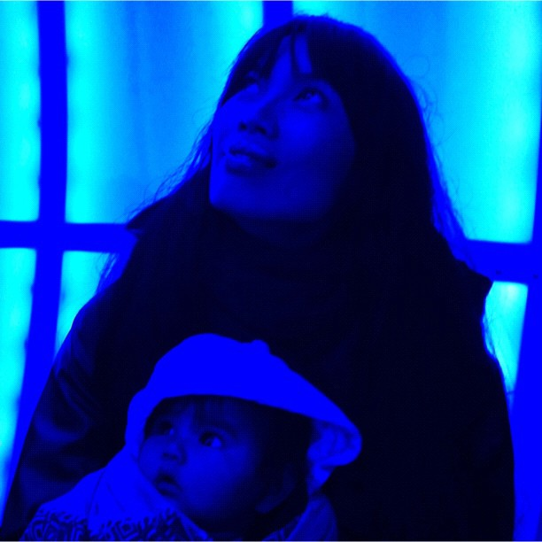 My two beauties inside the 'Water Droplet' (Taken with  Instagram  at Vivid Sydney - A Festival Of Light, Music & Ideas)