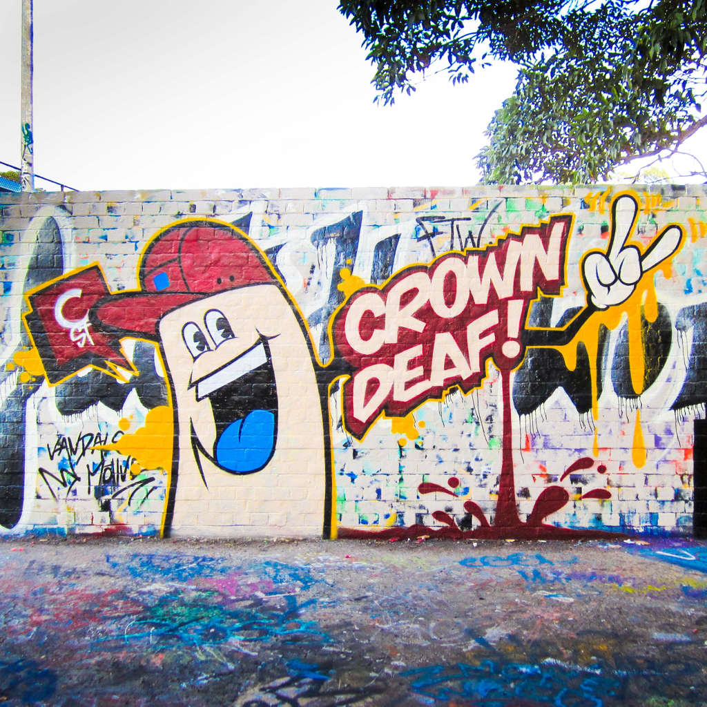 Today was a rad morning of painting at the Camperdown BBall courts. Stuart (Hi-Deaf) & Al joined to get some visuals and do a lil skating as well. I decided to do me a Crown St ode to the fine lads / friends at Hi-Deaf. Next weekend im up for a sequel so I'll be bringing rollers with me for less visual distractions. www.hideaf.com.au