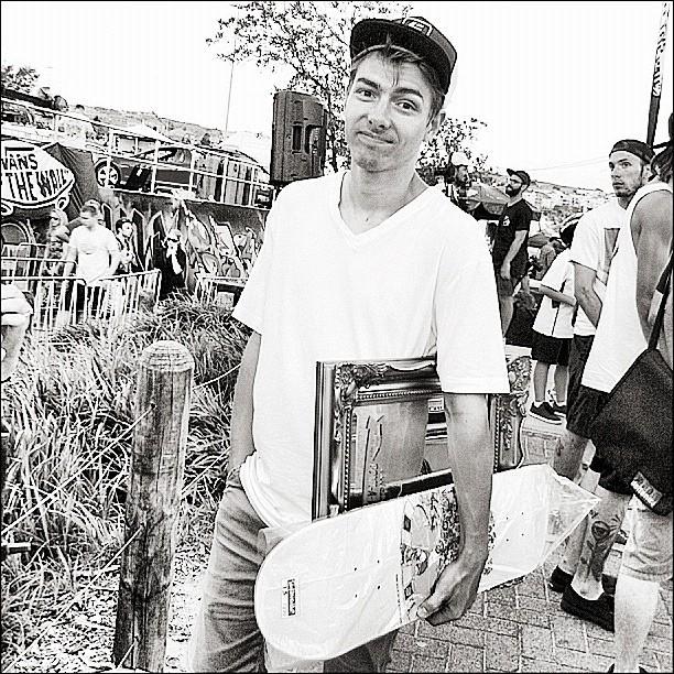 Danny Gluskie keeping yesterdays Masters winnings safe. D.G's Stereo Skateboards Intro Clip Dropping Soon.  (Taken with  Instagram  at Bondi Bowlarama 2012)