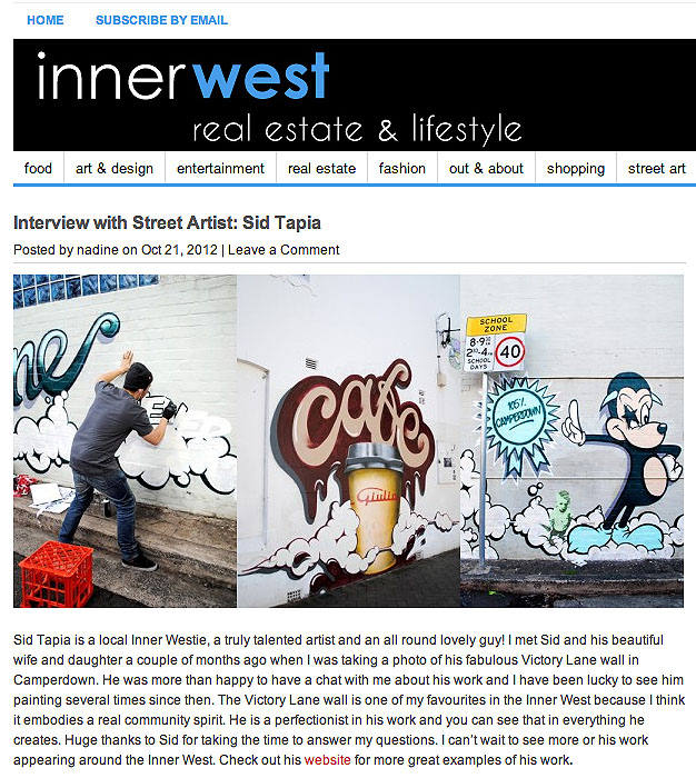 Inner West Life Style    2012  Interview     CLICK HERE