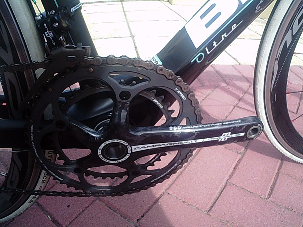 Carbon fibre Crank set to keep the wait down.
